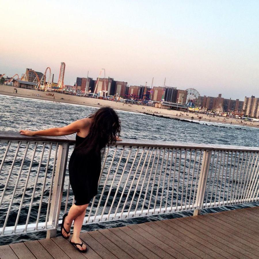woman on coney island boardwalk