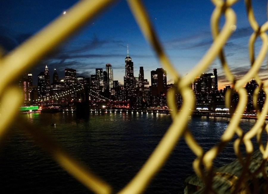 sunset over New York City from Manhattan bridge