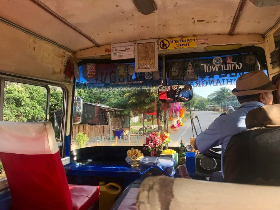 inside an old bus in thailand