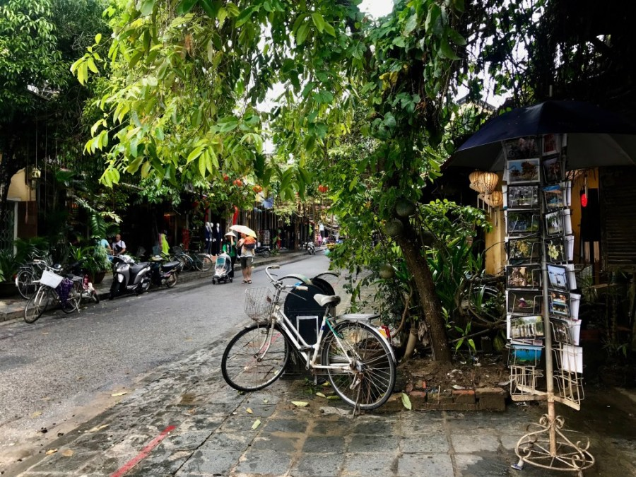 bike parked in hoi an's old town