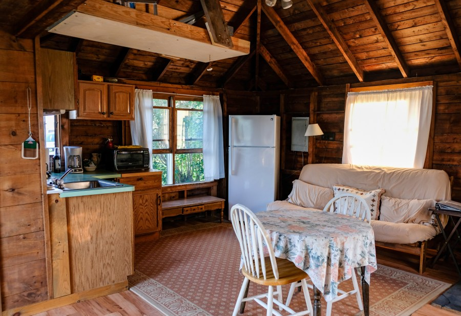 kitchen and living room area of cabin