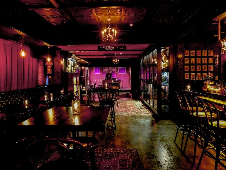 Interior of House of Wax, a unique bar in New York City
