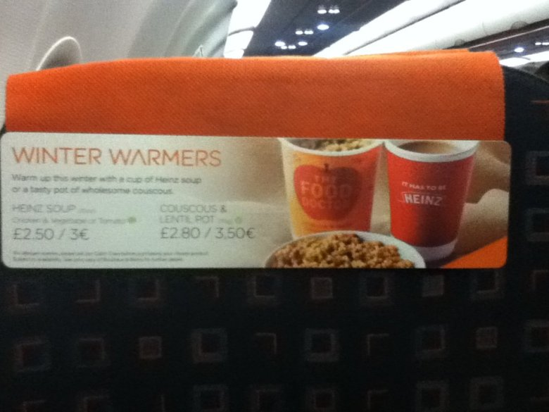 Vegan soup on an EasyJet flight - vegan in Normandy