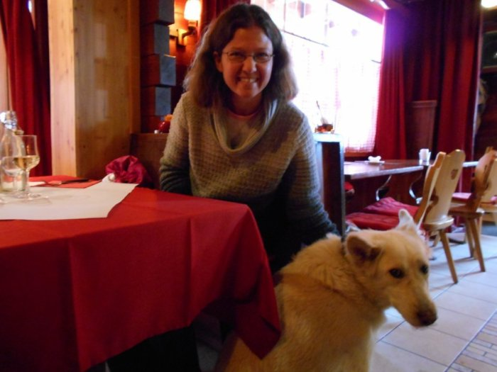 Spooky the dog at Le Vieux Mazot Restaurant, Evolène, Switzerland