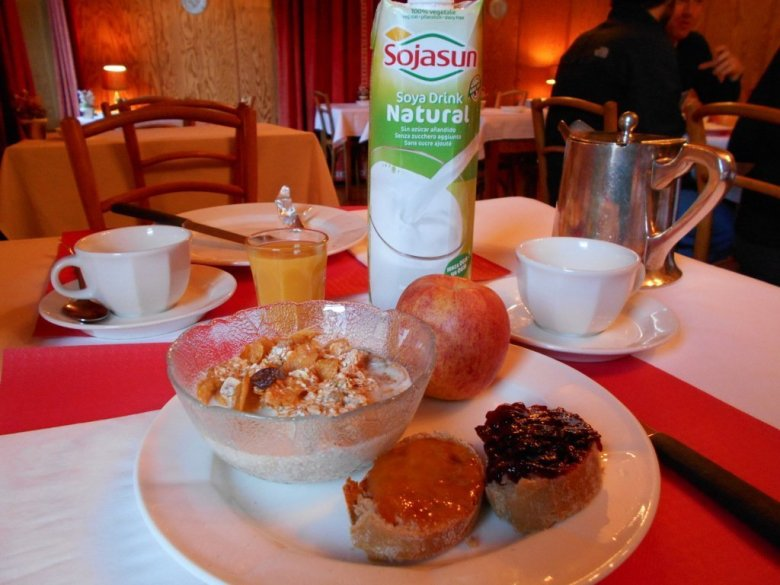 Vegan breakfast with soy milk, Hotel Hermitage, Evolène, Switzerland
