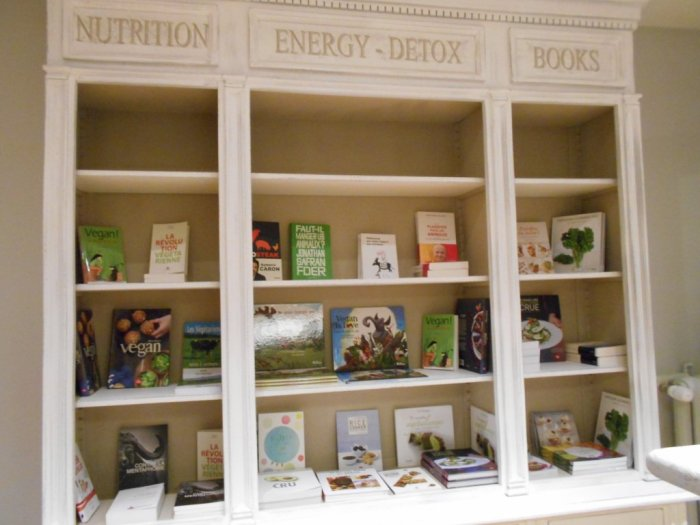 Vegan books at HelVeg Café - Geneva, Switzerland