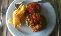 Gemista (stuffed tomatoes and bell peppers), a naturally vegan Greek dish