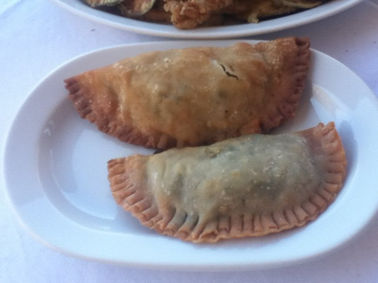 Vegan Kalitsounia (local Cretan pies) at Michalis Restaurant, Chania, Crete