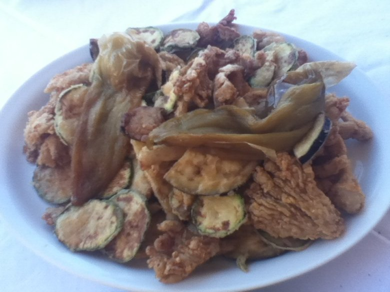 Fried vegetables at Michalis restaurant, Chania, Crete