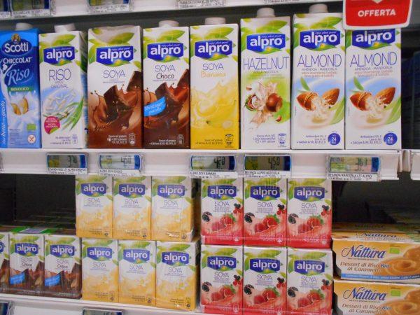Plant-based milk in Italian supermarket