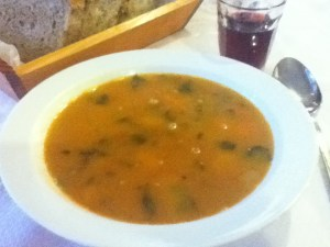 Vegan bean soup on Neo Omalos Hotel, Omalos, Crete, Greece