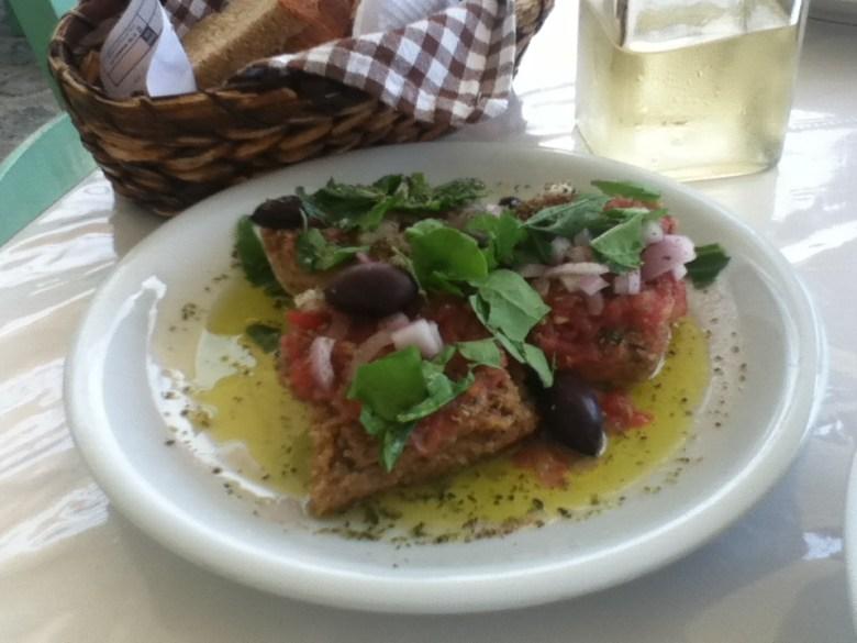 Vegan dakos (without cheese) in Agia Roumeli, Crete