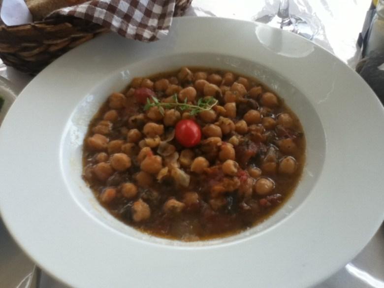 Vegan chickpea (garbanzo bean) dish in Agia Roumeli, Crete
