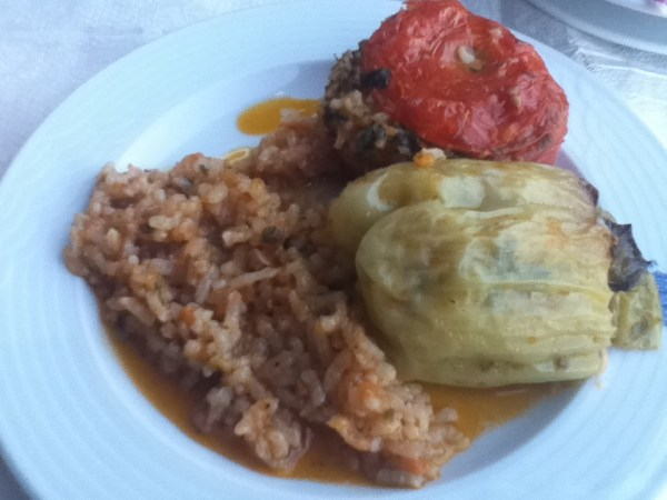 Gemista (stuffed peppers and tomatoes) in Monodendri, Greece