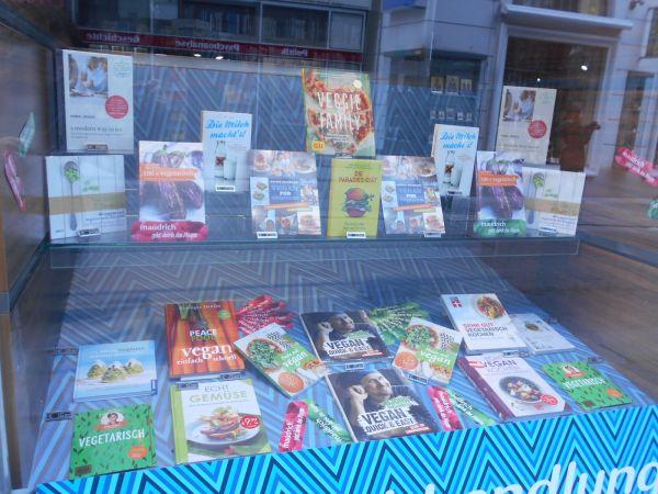 Vegan and vegetarian book display in Vienna, Austria - vegan travel