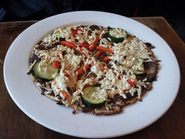 Vegan Pizza - Peacefood Cafe - Mushroom Duxelle Pizza. Photo by Michelle L.