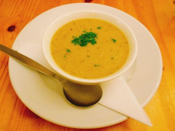 Lentil and herb soup at vegan-friendly Rainbow Café in Cambridge, England