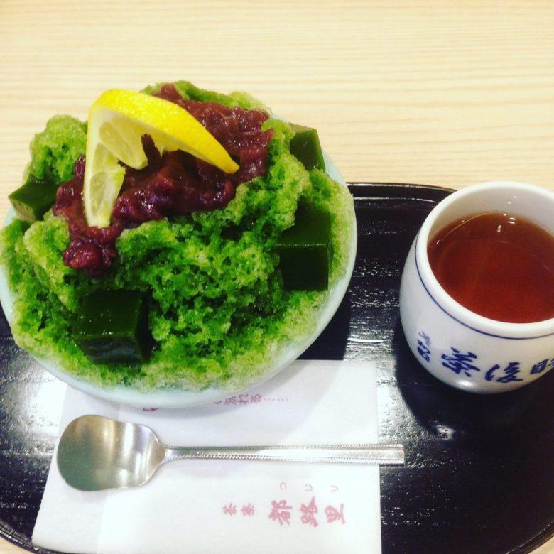 Matcha shaved ice in Kyoto - vegan in Japan