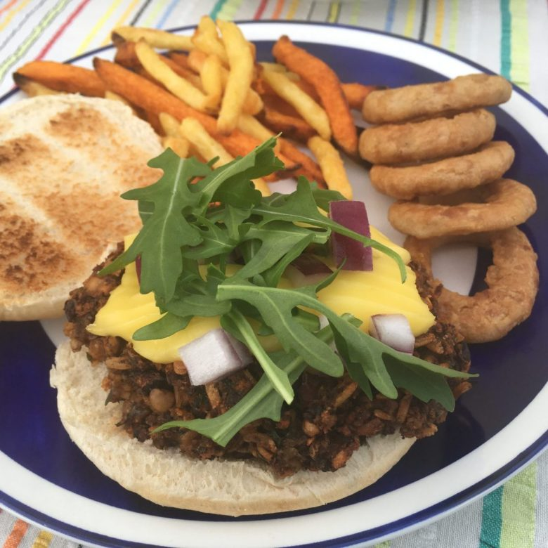Haggis burger at The Cosy Vegan B&B
