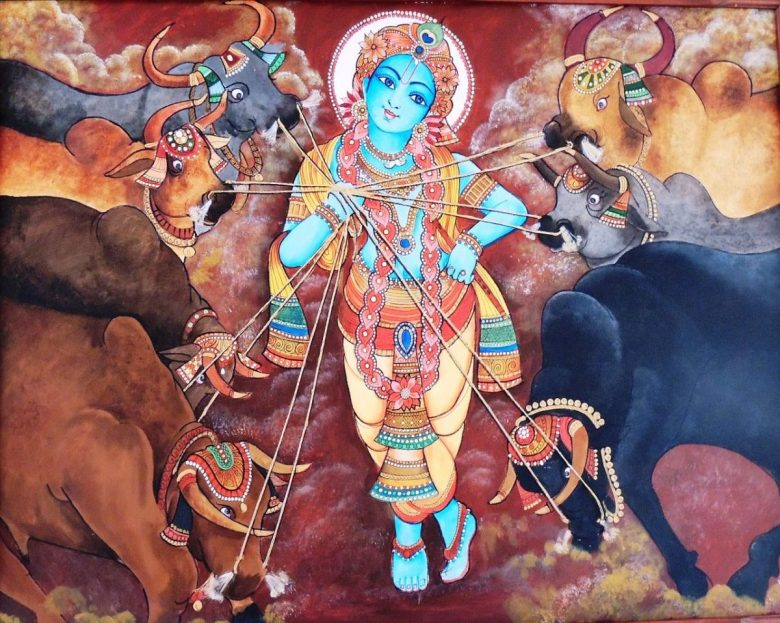 Mural painting of Lord Krishna with cows - India, dairy and veganism
