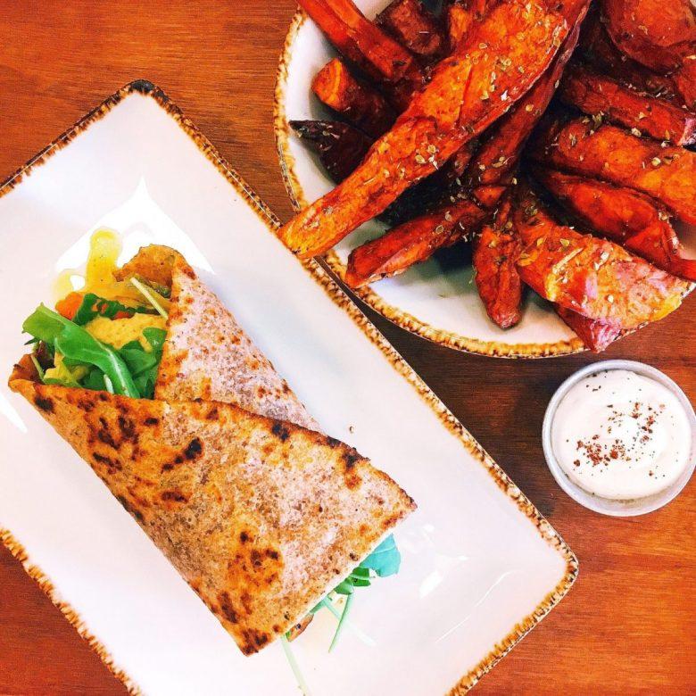 Flatbread wrap at Juicy vegetarian restaurant in Lisbon