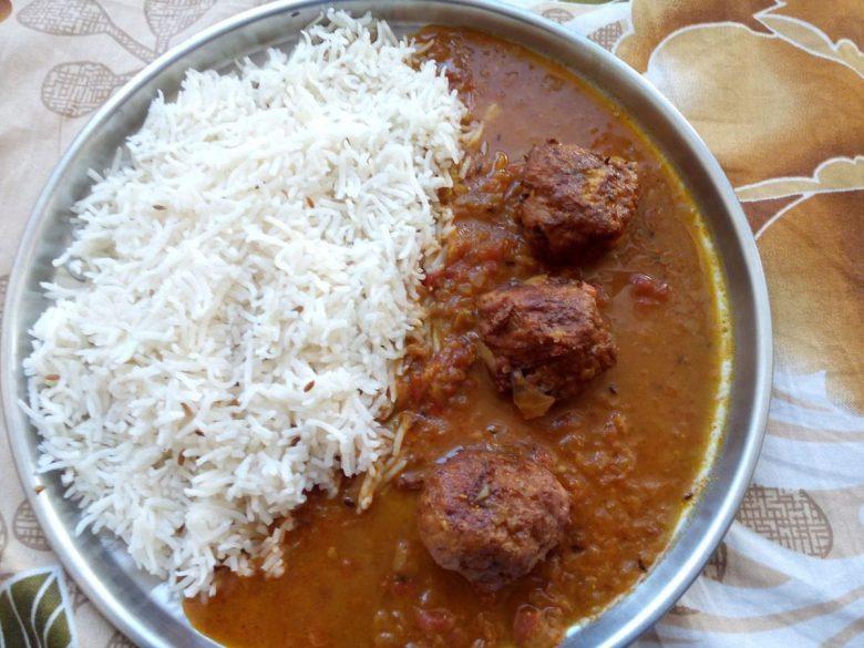 Vegetable Kofta Chawal - typical vegan food in India