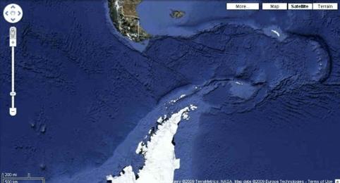 Antarctica Holidays - View of Antarctica on Google Earth