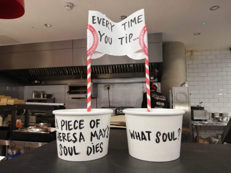 British humor - the tip jar at Temple of Seitan