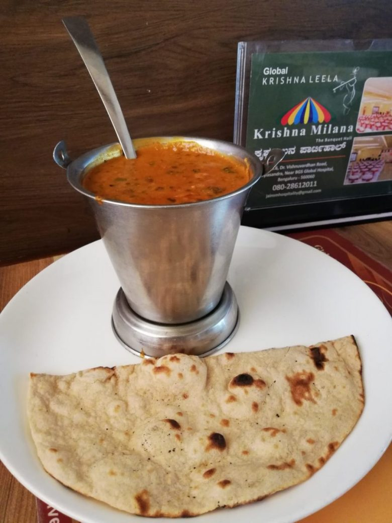 Veg curry with roti at Global Krishna Leela