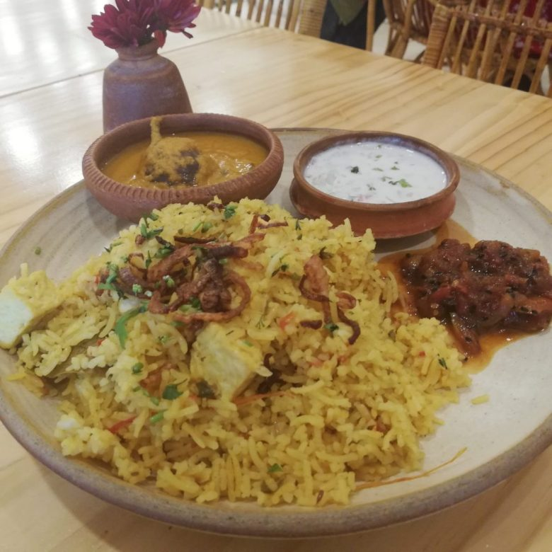 Tofu biryani at The Tasting Room