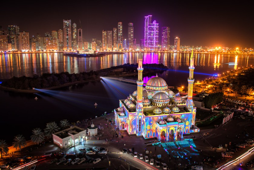 Adventure, Light Festival, Middle East, Muslim, Nomad Within, Peter DeMarco, Sharjah, UAE, United Arab Emirates, cityscape, colorful, lights, mosque, night, photography, travel