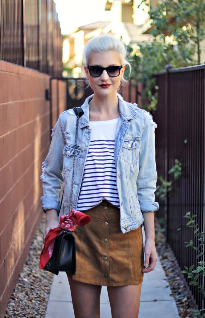suede-skirt-denim-jacket-studded-sandals-striped-tee-outfit-ootd-lindsey-simon-las-vegas-fashion-blogger-3