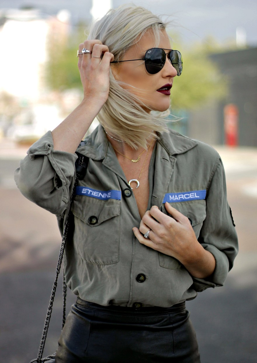 stella-and-dot-military-shirt-leather-skirt-sock-booties-5
