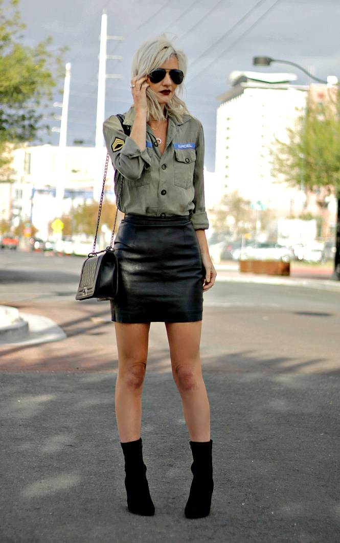 stella-and-dot-military-shirt-leather-skirt-sock-booties-8