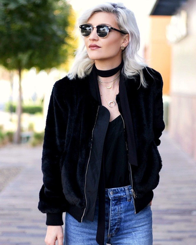 Faux Fur Bomber Jacket - Winter Outfit Inspo