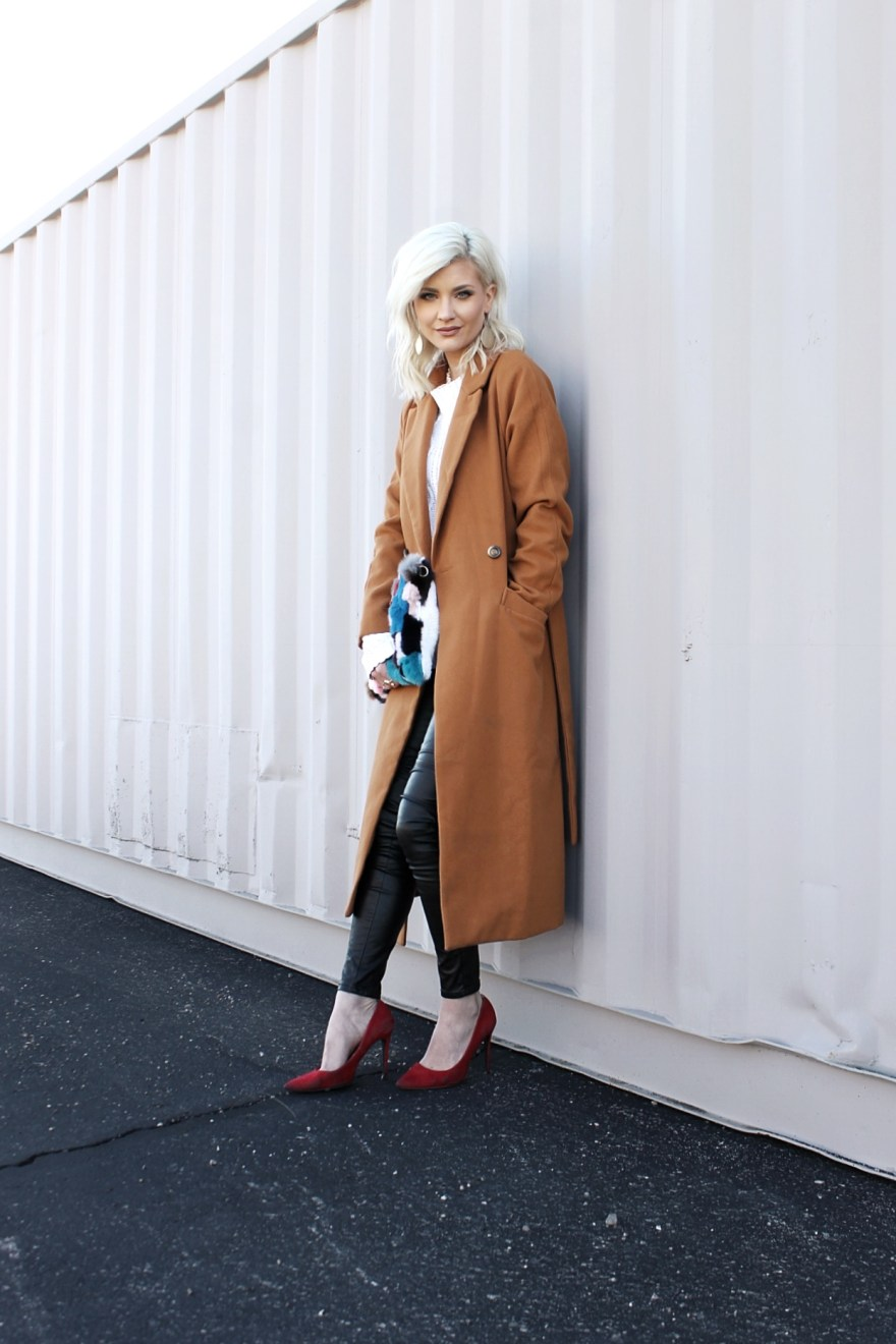 winter style 2017, camel coat, leather pants, faux fur clutch, red heels, outfit, how to wear, outfit inspo, fashion blogger, style, fashion, outfit,