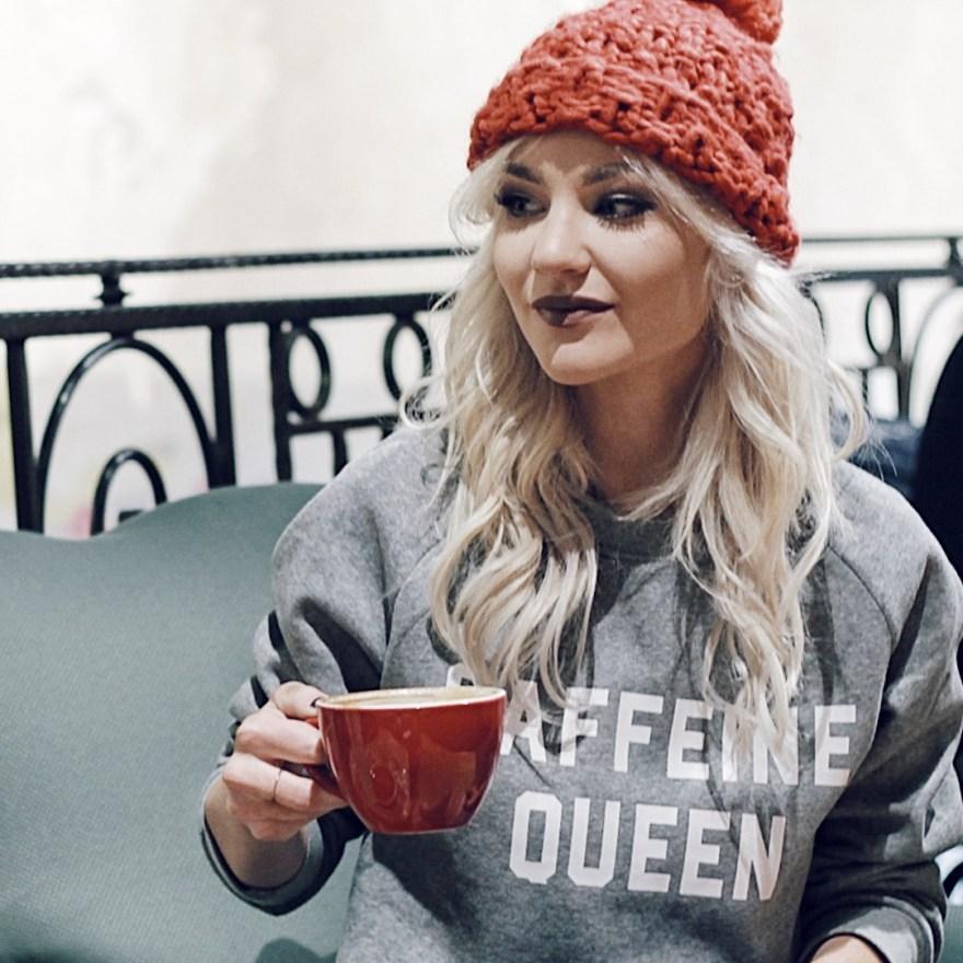caffeine queen, shein, sweatshirt, casual style, coffee, red beanie, coffee shop