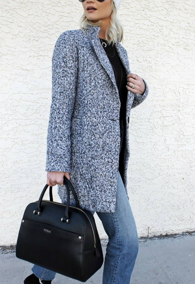 winter style, winter outfit, gray coat, how to wear, raw hem jeans, sock booties, street style, fashion blogger