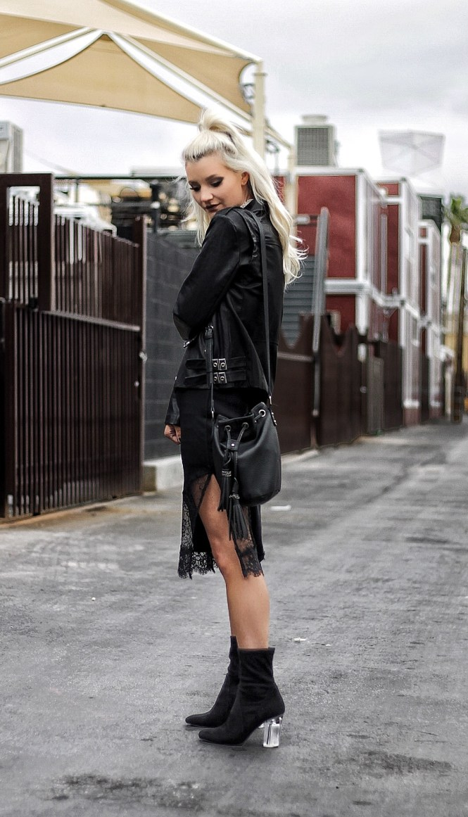 how to style a slip dress, leather jacket, sock booties, clear heels, white and black outfit, street style, spring 2017 outfit, winter outfit ideas, spring outfit idea, platinum blonde hair, las vegas, las vegas style, vegas outfit, bucket bag, outfit