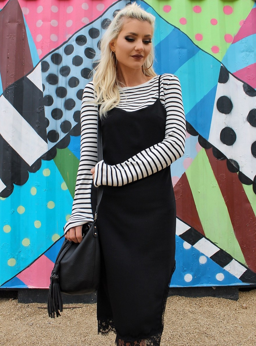 how to style a slip dress,striped shirt, fashion blogger, striped tee, sock booties, clear heels, white and black outfit, street style, spring 2017 outfit, winter outfit ideas, spring outfit idea, platinum blonde hair, las vegas, las vegas style, vegas outfit, bucket bag, outfit