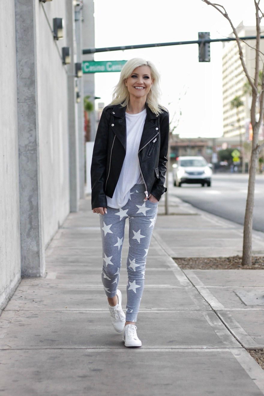 star print, street style, winter style, winter outfit, star print pants, sweatpants, outfit, sweatpant style, casual style, street style, leather jacket, fashion blogger, spring trends, spring 2017, trends,