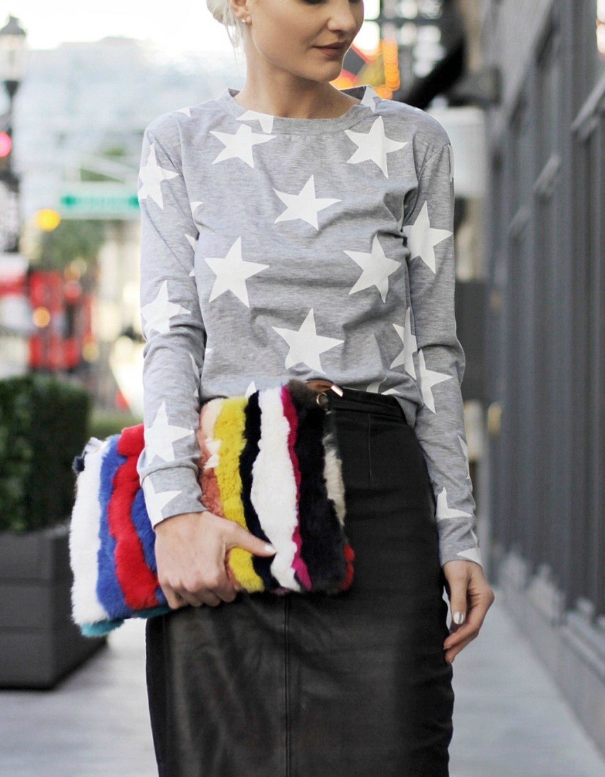 star print, street style, winter style, winter outfit, star print top, sweater, outfit, sweatpant style, casual style, street style, leather jacket, fashion blogger, spring trends, spring 2017, trends, faux fur, fur, leather skirt, leather pencil skirt, fur clutch, fur purse, red heels, red shoes, red pumps