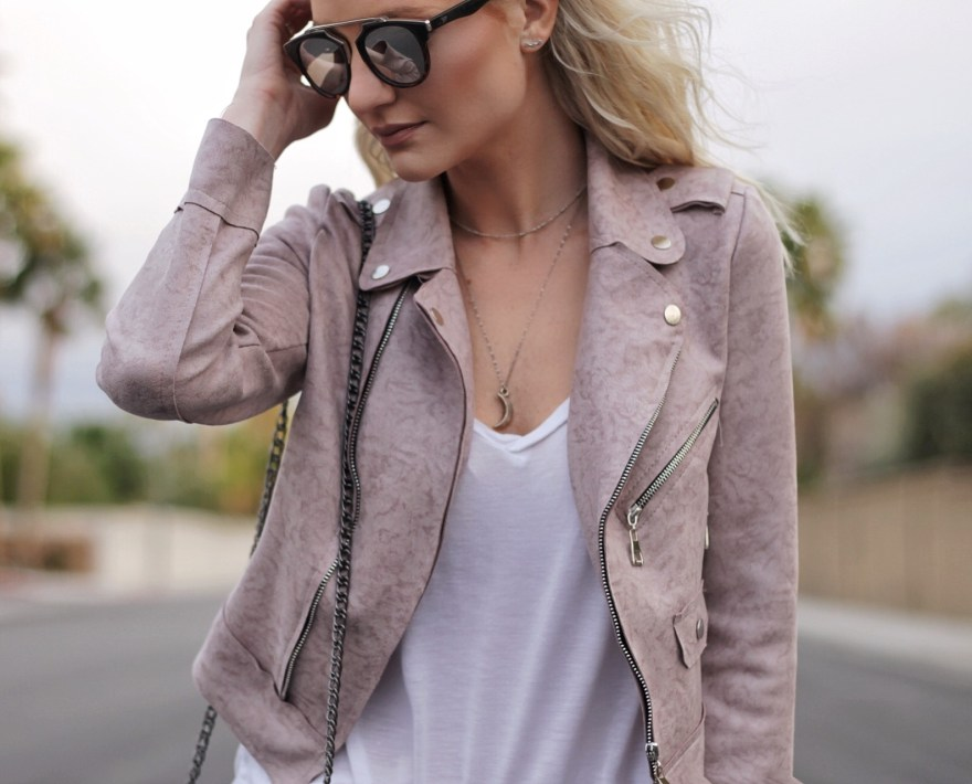 pink moto jacket, pink blazer, blush jacket, how to wear, spring style, cali, california, las vegas, casual style, date night style, outfit, fashion, style, fashion blogger, the nomis niche, studded sandals, lindsey simon