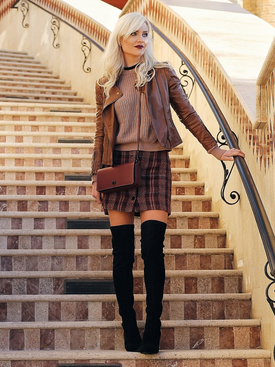 over the knee bots, fashion, style, fashion blogger, las vegas, plaid skirt, coach bag, coach purse, dinky bag, choker necklace, fall style, winter style,