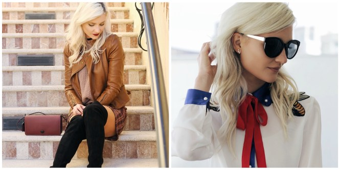 vipme, feminine outfit, over the knee boots, pussybow, blouse, embroidery, embroidered, leather jacket, coach, dinky, purse, ootd, fashion blogger, lindsey simon, the nomis niche, las vegas, style, fashion,