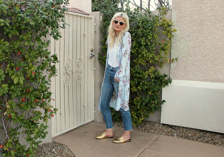 kimono, longline, spring style, spring trend, summer trend, gold mules, forever 21, retro style, street style, fashion blogger, las vegas, blogger
