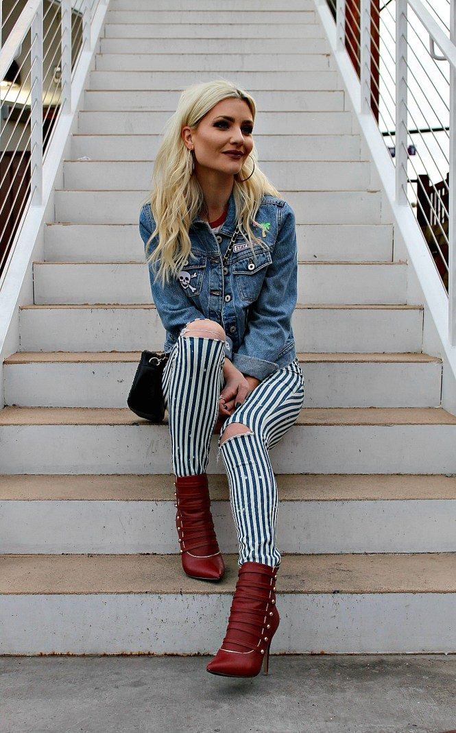 80 style, red booties, zara, striped jeans, fashion blogger, las vegas, denim jafket, ootd, patched denim, spring style, how to wear, outfit, summer