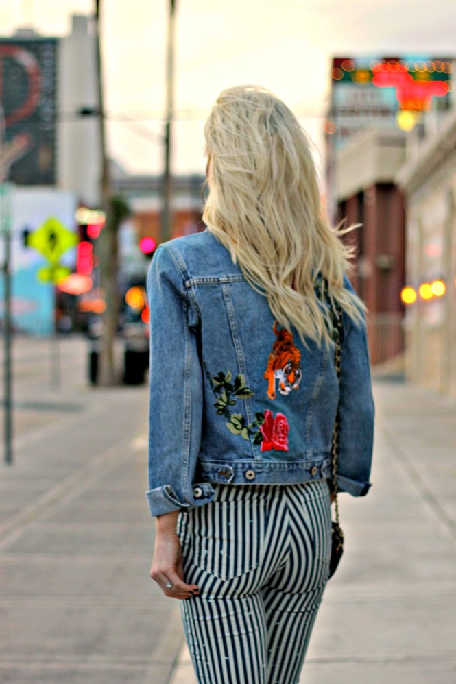 patched, denim jacket, striped jeans, street style, fashion blogger, spring, ootd, how to wear, outfit, spring, las vegas, fashion blogger, the nomis niche, lindsey simon, platinum blonde