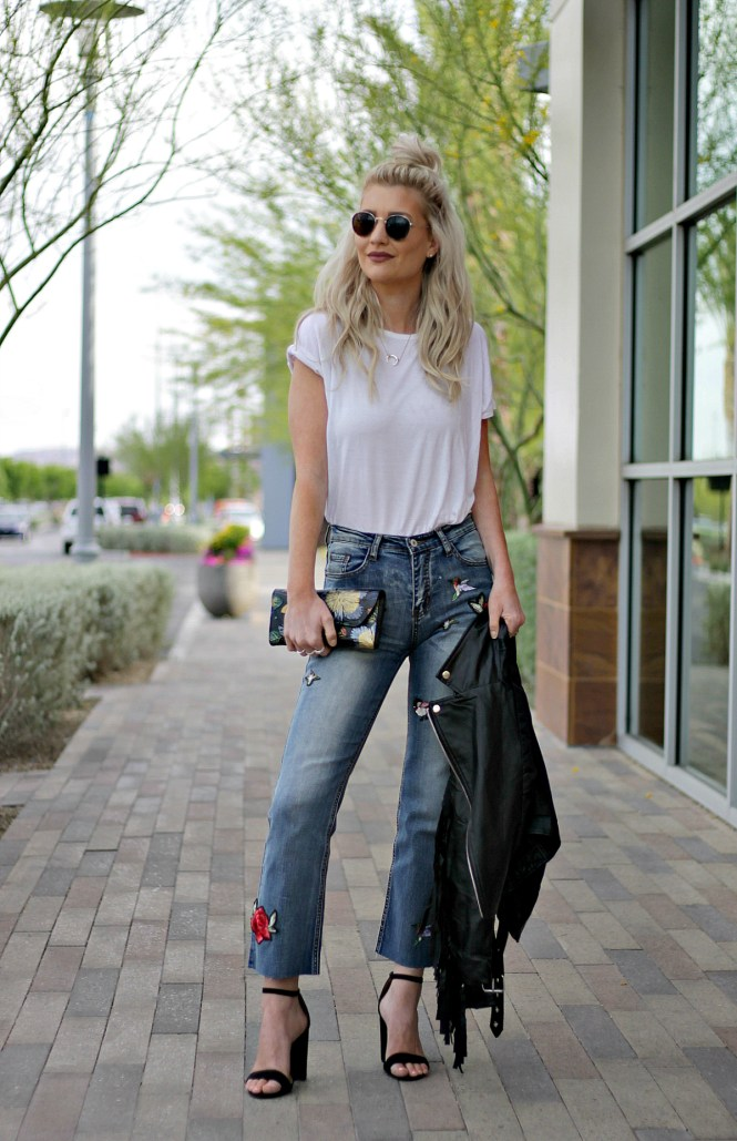 embroidered, embroidery, spring outfit, summer, ootd, inspo, how, to wear, leather jacket, shein, kick flares, flares, culottes, cropped, jeans, street style, rocker, bohemian, edgy, fashion, style, blogger, platinum, blonde, hair