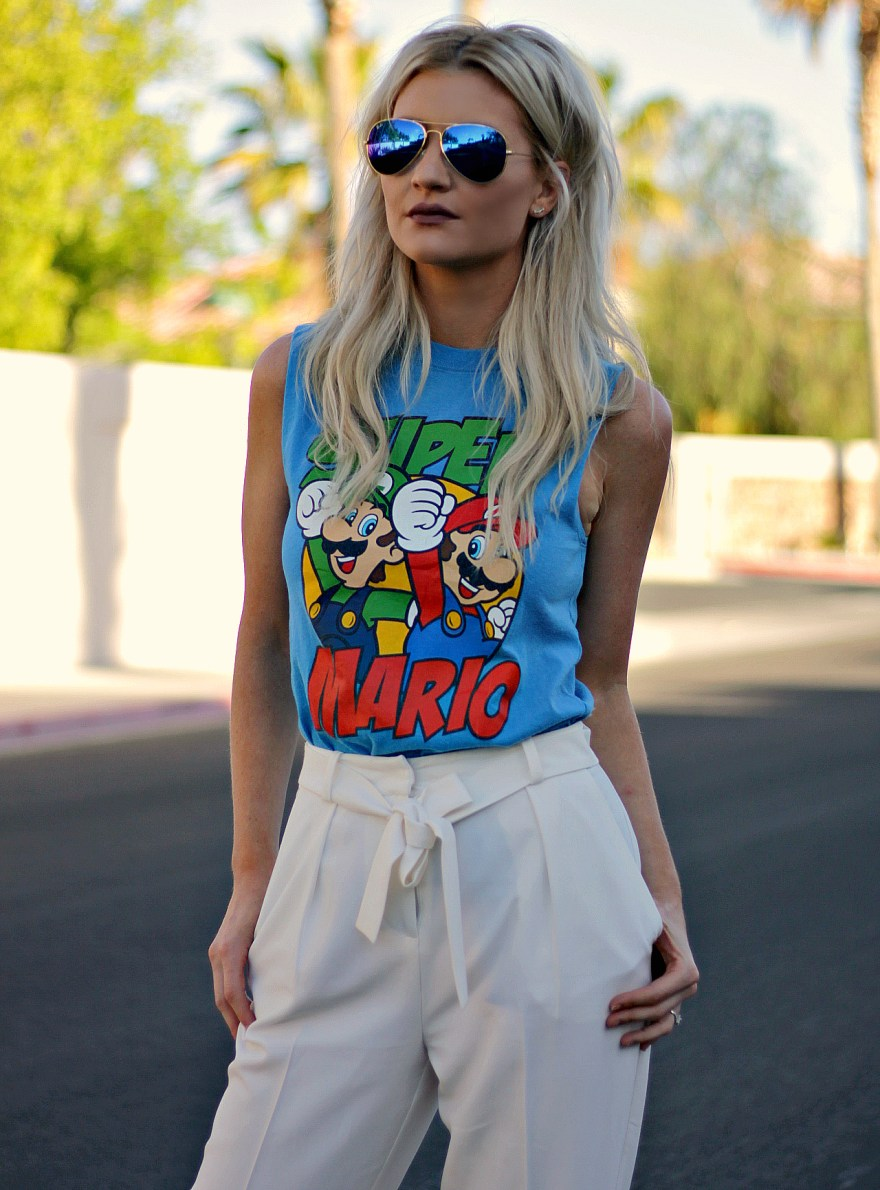 street style, summer style, work outfit, casual outfit, outfit idea, how to wear, white paperbag, waist pants, white pants, high waist, orange heels, vintage tee, platinum blonde, blonde hair, ootd, inspo, inspiration, las vegas, edgy, fashion blogger, summer outfit, spring outfit